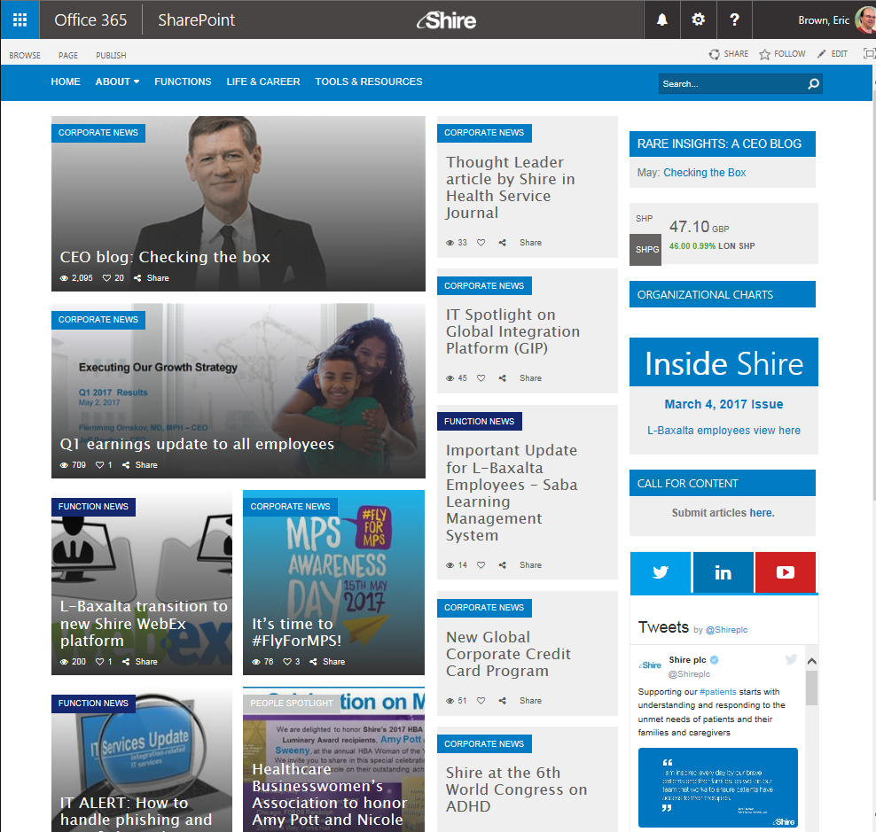 Shire's 'The Hub' portal on SharePoint in Office 365