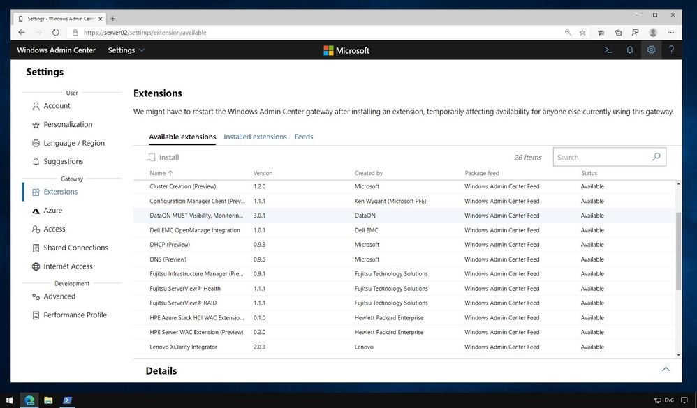 Windows Admin Center Extensions