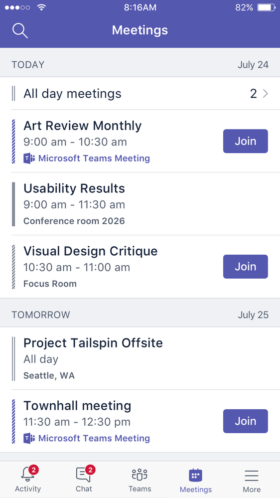 Quickly look at upcoming meetings and join with one touch
