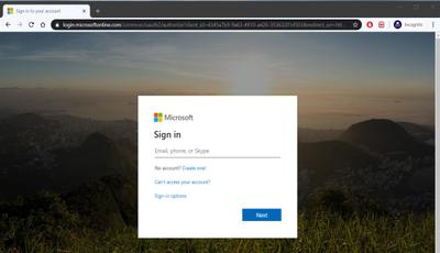 Office 365 Log In Screen