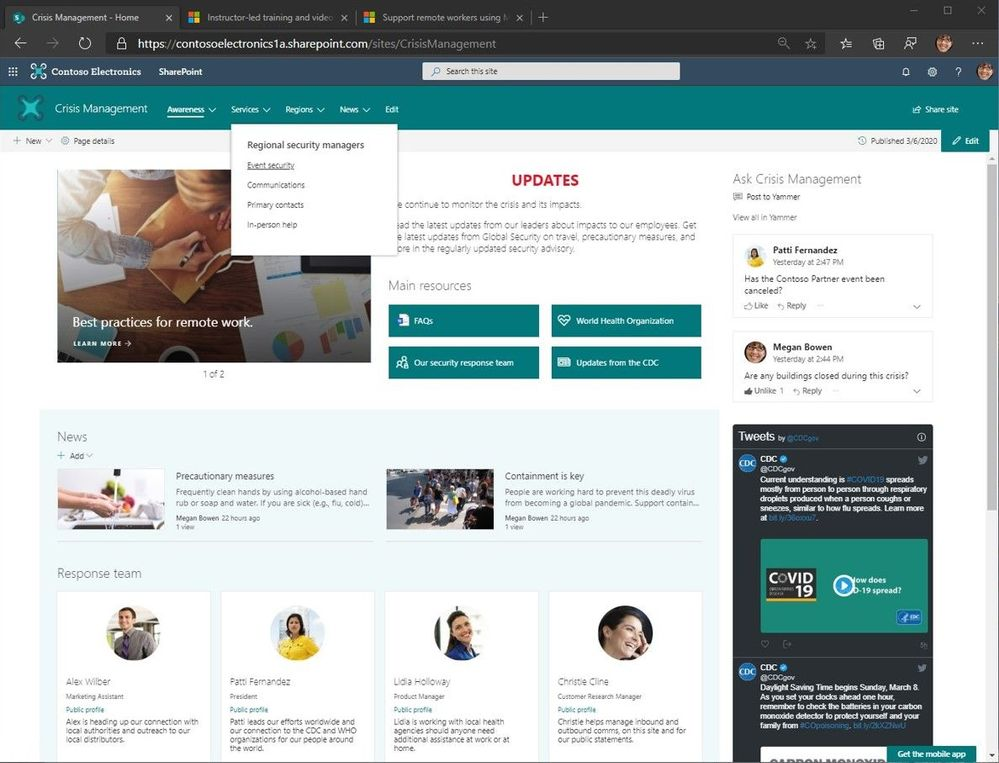 """Crisis Management"" SharePoint communication site with top navigation and seven web parts laid out to provide access to people and information from inside and outside the organization."