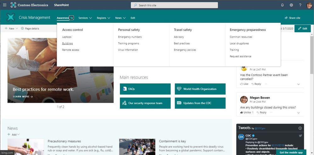 SharePoint mega menus enable site navigation to be displayed at-a-glance.