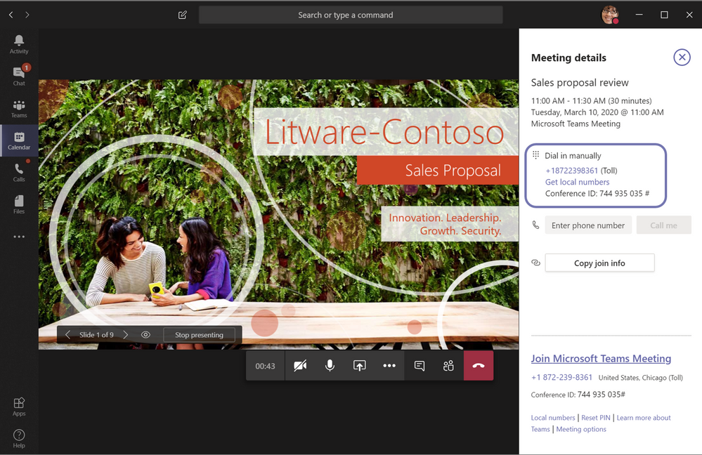 Teams user interface showing the meeting details, including Audio Conferencing dial-in information