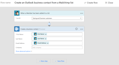 Setting up a flow in Microsoft Flow for MailChimp and Outlook Customer Manager