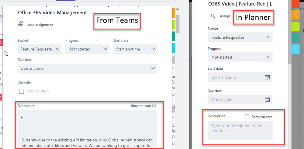 Task description appears when Planner is opened from teams