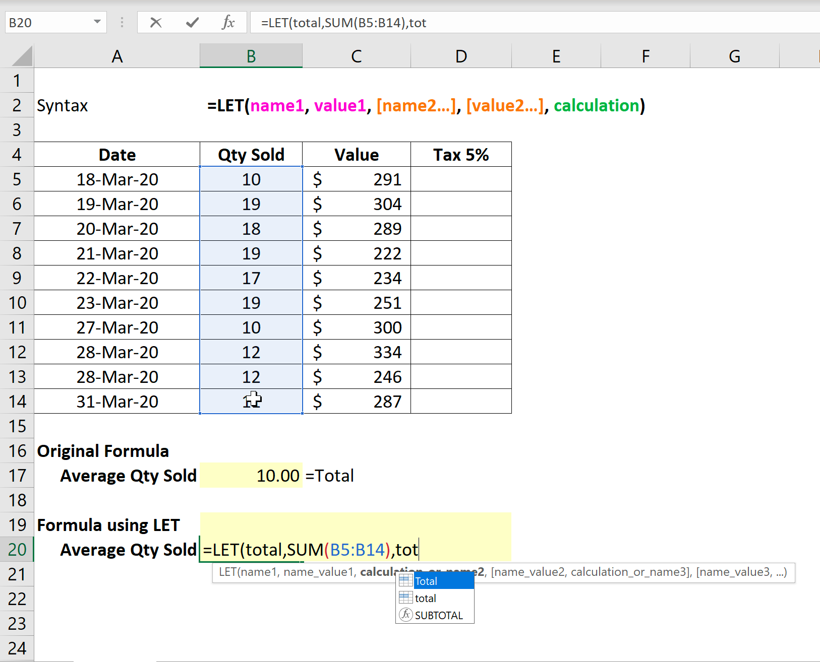 Announcing LET in Excel