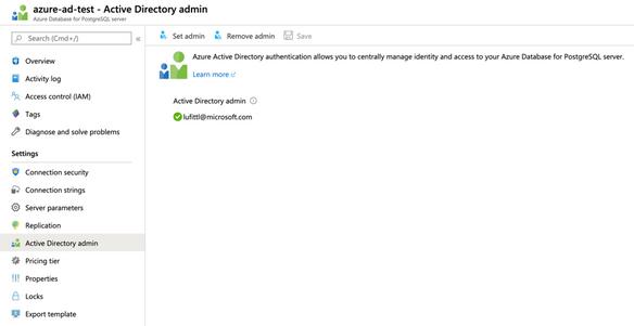 Azure Portal: Configure Azure Active Directory administrator for your Azure Database for PostgreSQL server