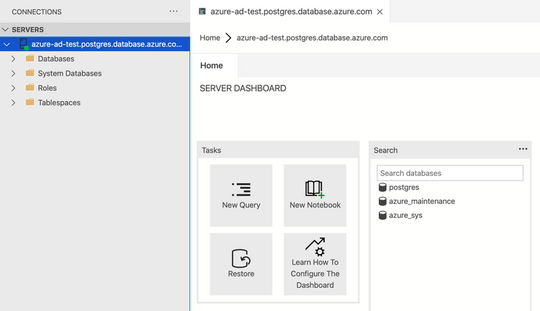 Successful connection using Azure AD