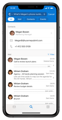 Actionable Search answers about people's contact details in Outlook for iOS