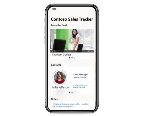 Bring company videos into custom productivity apps – mobile app example above.