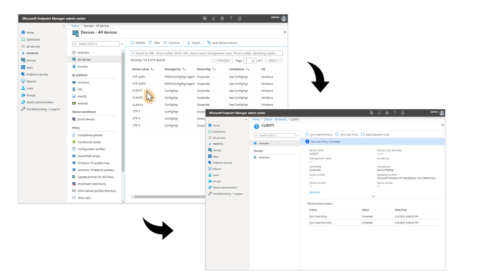 Microsoft Endpoint Manager admin center managed devices