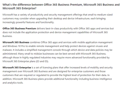 What's the difference between Office 365 Business Premium, Microsoft 365 Business and Microsoft 365 Enterprise?