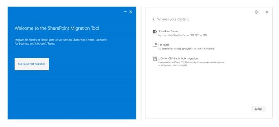 Use the SharePoint Migration Tool (Public Preview) to migrate file shares or SharePoint Server 2010, 2013 and now 2016 sites to SharePoint Online, OneDrive for Business and Microsoft Teams.