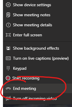 End Meeting option