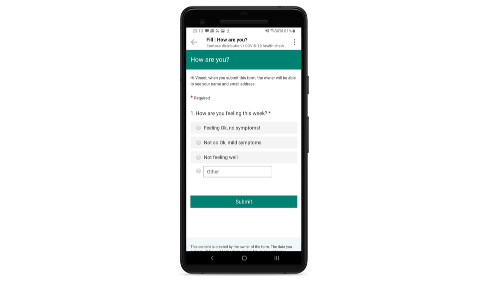 Gather employee wellbeing information via Microsoft Forms and ensure the safety of your team.