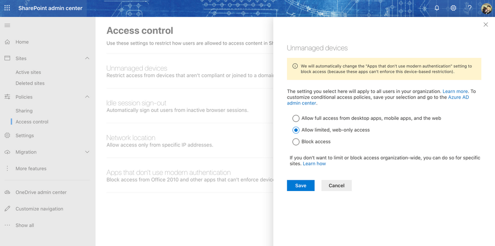 Sharepoint and OneDrive Limited Access settings from Access Control using SharePoint Admin Center