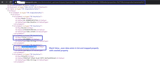 Custom Managed Property return null . even its mapped properly with crawl property and having values also