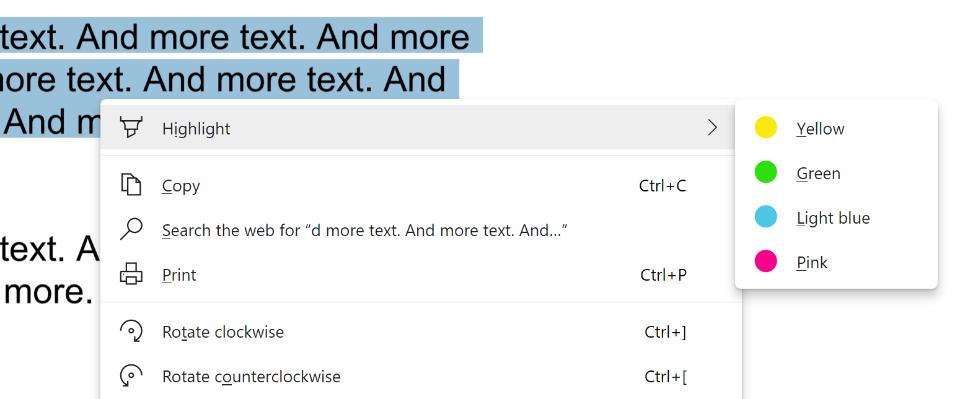 highlighter in context menu