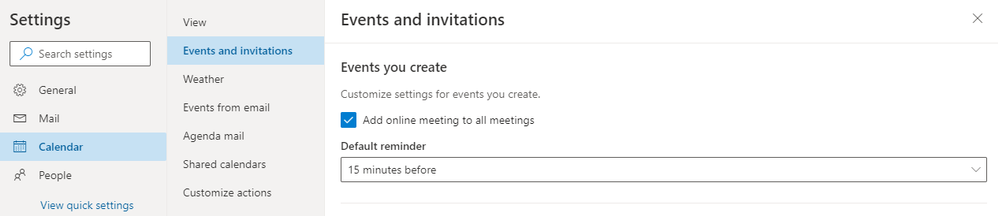 Image 12 Easily add online meeting to any event or adjust settings so they're added by default.png