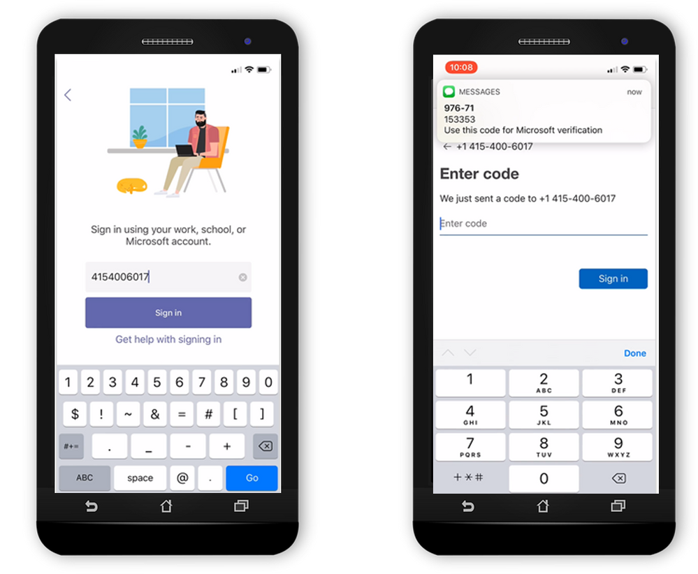 To start, a user enters their phone number instead of their username. A 6-digit code is sent to their phone number via text message. Once they enter the 6-digit code, they are signed into their account. The next time the user signs in, they'll receive a new 6-digit code to sign in.