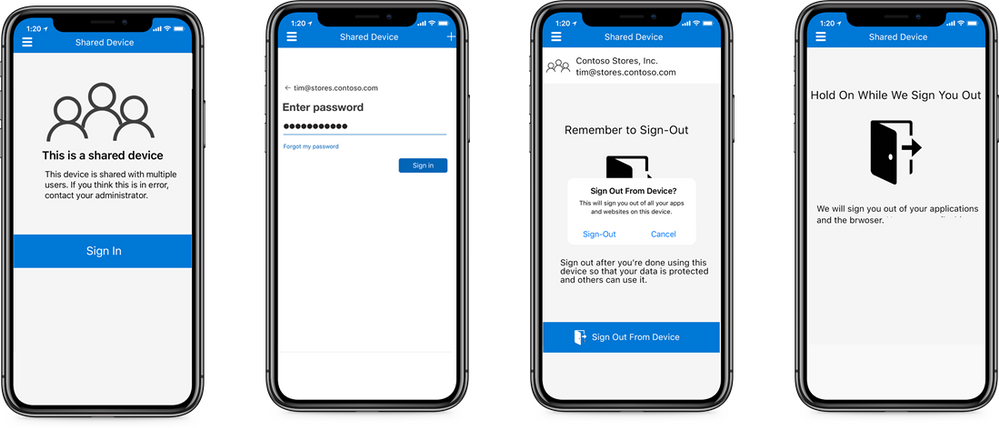 In this example, a user is logged into a shared iOS device. At the end of a shift, the user clicks the 'sign out' button in the app to make sure that the next user does not have unauthorized access to company or customer data.