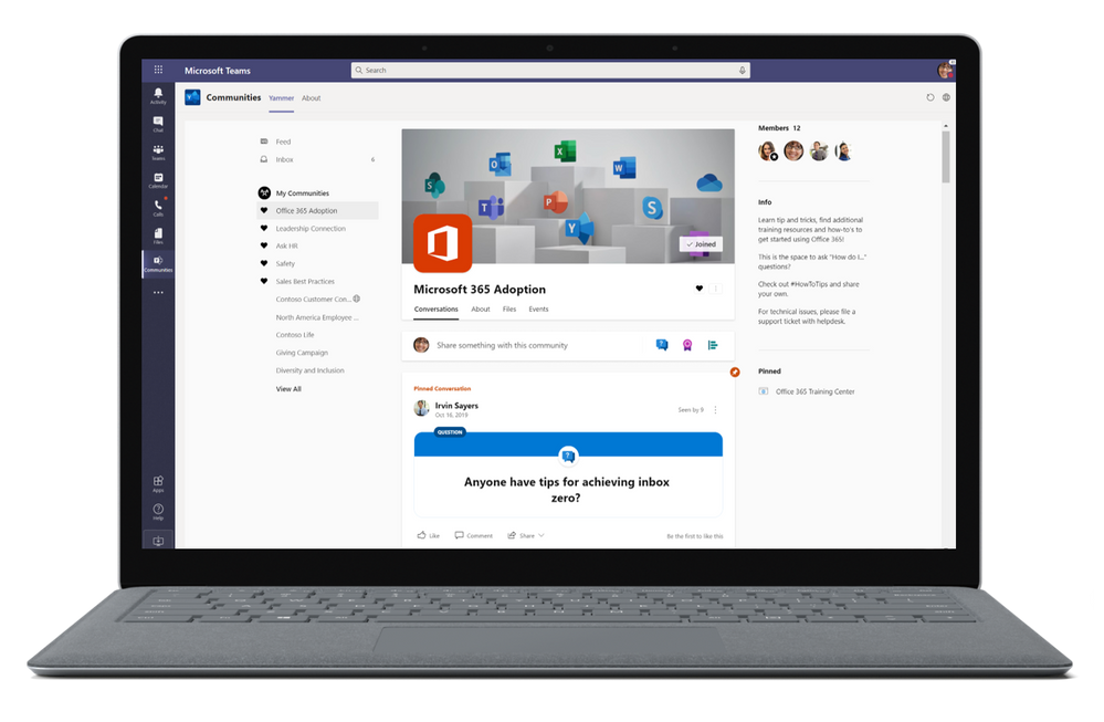 The new Yammer experience is available in the Yammer app for Microsoft Teams