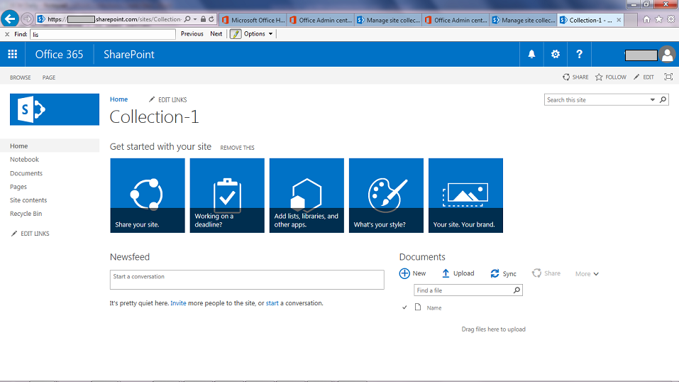 SharePoint Collections Create New Site.png