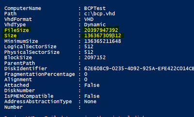 Output of Get-VHD command