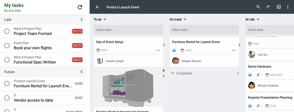 The Planner widget (left) and landscape mode (right) bring flexibility to the way you manage your tasks.