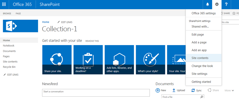 SharePoint Collections - Site Contents.png