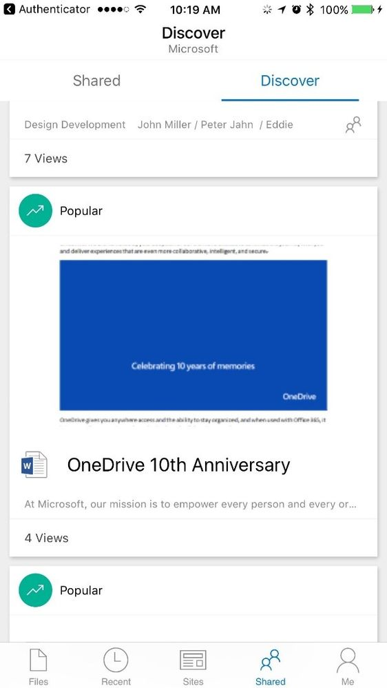 New Discover view in OneDrive iOS app