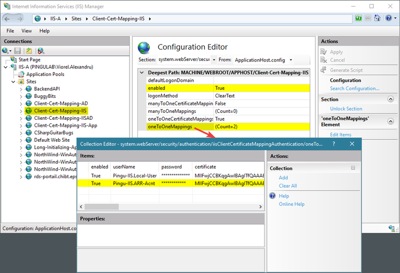 IIS client certificate mappings to user accounts on server machine