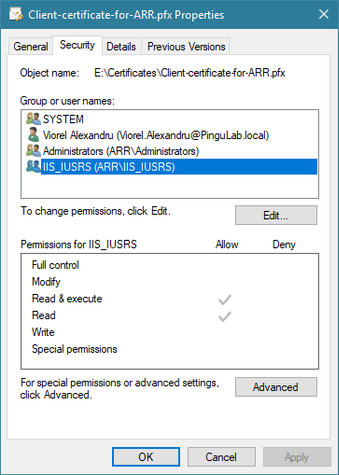 Read rights for IIS on certificate