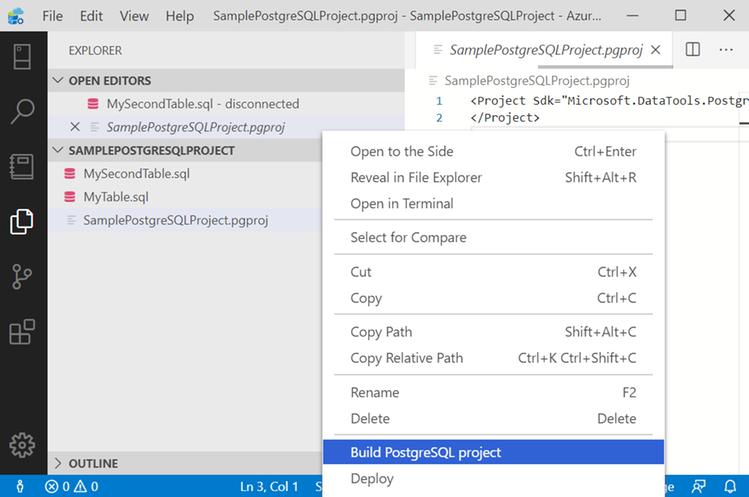 Build PostgreSQL Project - in Azure Data Studio Postgres.png