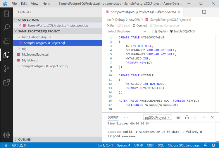 Ouput script for Postgres project - in Azure Data Studio.png