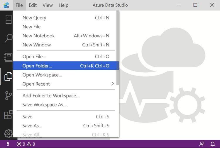 Open Folder - in Azure Data Studio Postgres.png