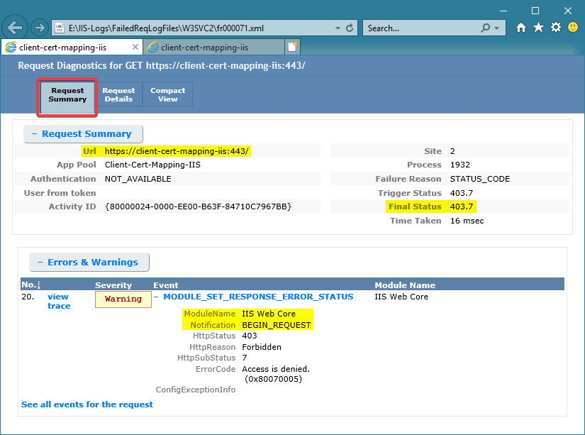The default Request Summary view of a FREB trace log
