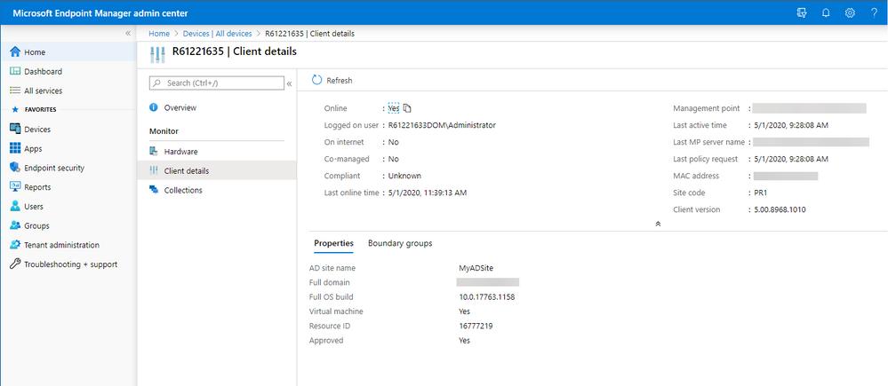 Client details view in MEM admin console