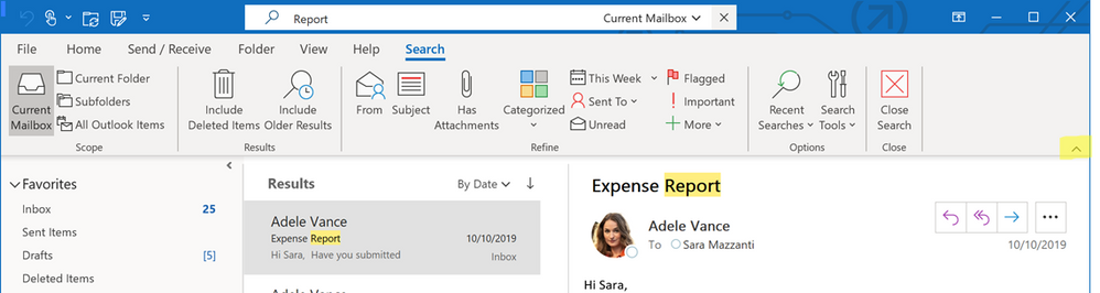 Search at the top of Outlook with the classic ribbon options