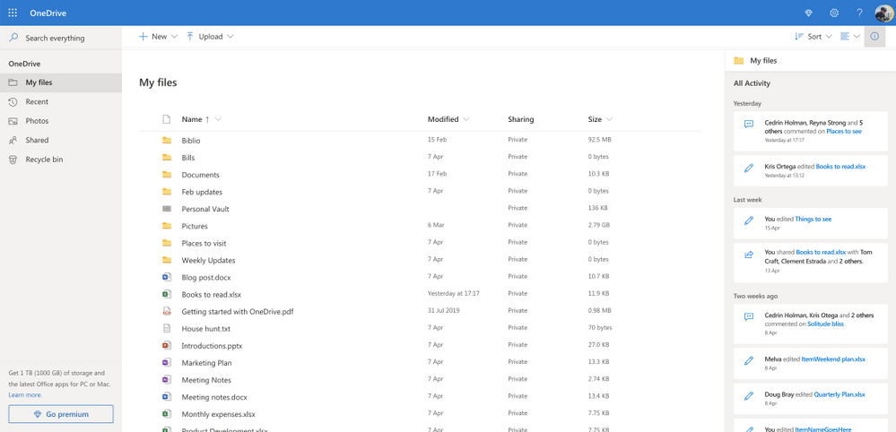 The OneDrive activity feed is a pane that can be opened on the right side of your OneDrive root view on web. The feed shows recent activity across all your OneDrive files.