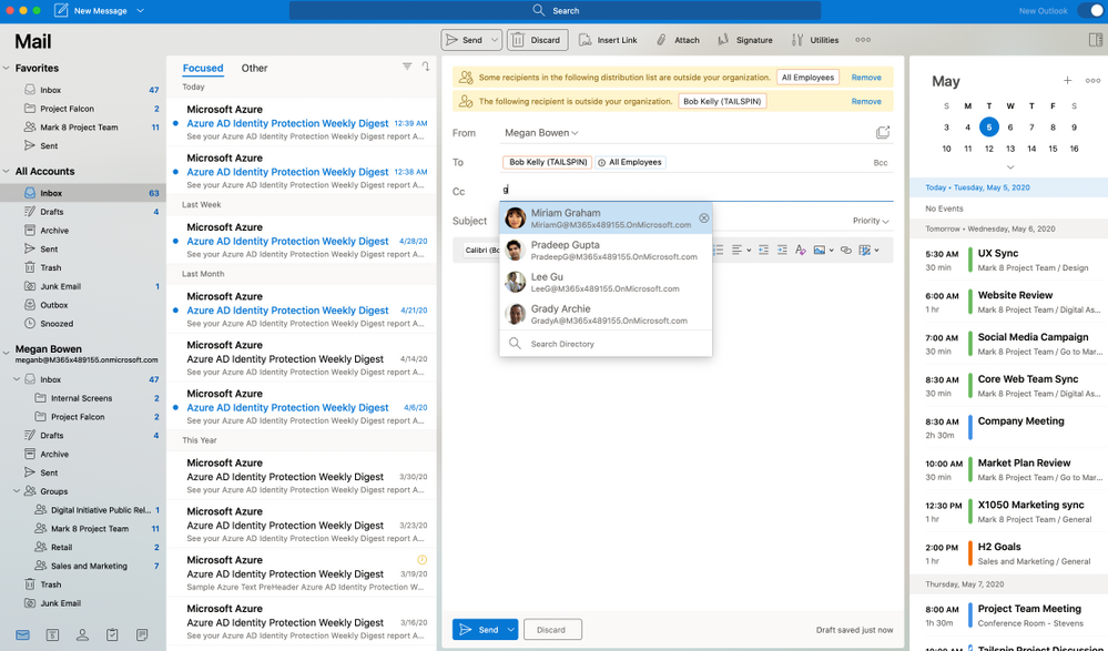 MailTips and photos for suggested contacts make composing an email simple and informative.