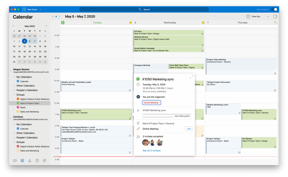 Updates to the calendar gives you extra flexibility with a 3-day view and grouped sidebar navigation.