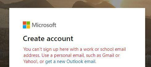 You can't sign up here with a work or school email.JPG