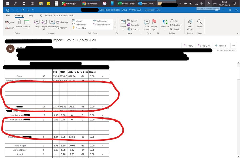 area which is circled in red are highlighted and has some values.... these are not visible and i have to copy the content and take it to excel and change the font colour to read the content everyday to check the data