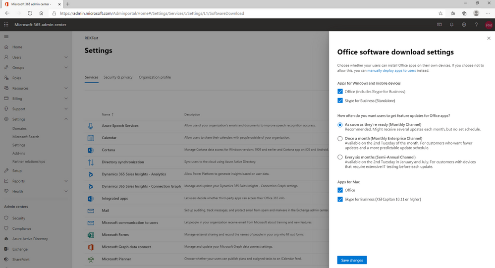 Microsoft 365 admin center experience for setting up Monthly Enterprise Channel (new channel names will appear on June 9th).