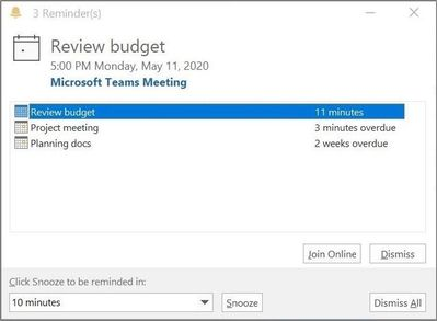 Join from your Outlook Calendar notifications