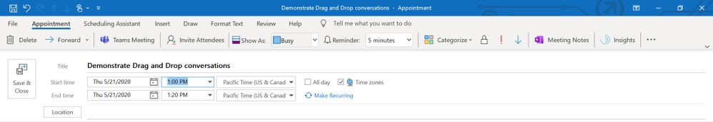 Drag and drop an email conversation and choose the Teams Meeting option