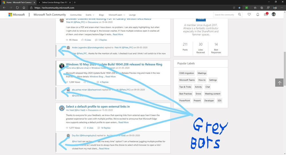 Grey Bars appearing on some posts on the main screen of Microsoft Tech Community.