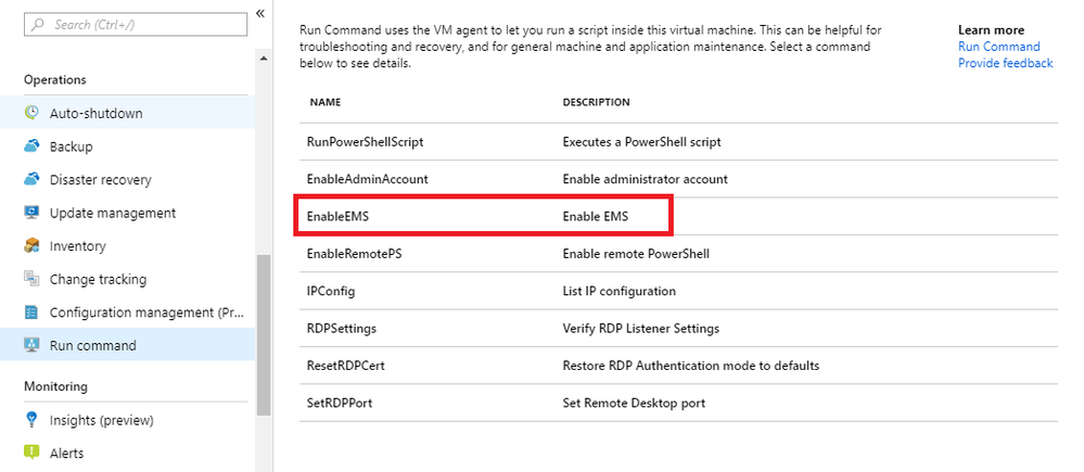 Enable EMS Run Command