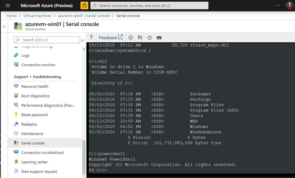 Azure Serial Console PowerShell Session